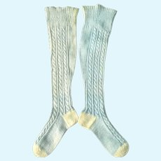 Old 16 Inch Pale Blue Cotton Cable Knit Stocking Ivory Heels Toes Large Papier-Mache China Doll