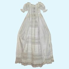 Elaborate 43 Inch Victorian Christening Gown Rows of Lace  Tucks and Broderie Anglaise Down Front