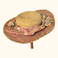 Old Woven Straw Wide Brim Doll Hat Fabric Upper Brim Velvet Violet Trim