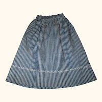 Old Hand Stitched Slate Blue w Ivory Stripe Linen Skirt for Early Doll