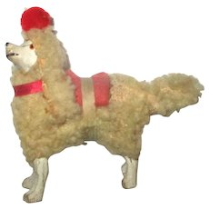 2.5 Inch Stick Leg Woolly Poodle w Red Collar Saddle Pom Pom Pet Dog for French Fashion