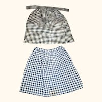 19th Century Indigo Check Homespun Skirt & Apron for Early Dolls