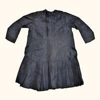 22 Inch 19th Century Lined Midnight Blue Silk Dress for Big Doll
