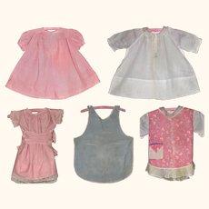 3 Dresses & 2 Pinafores for Big Dolls