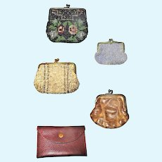 5 Old Doll Size Purses