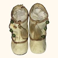 2.5 Inch Size 4 Ivory 3 Button Boots w Tassels