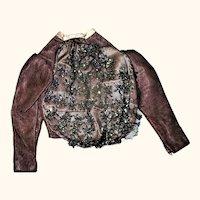 Edwardian Beaded Amethyst Linen Blouse for Lady Doll