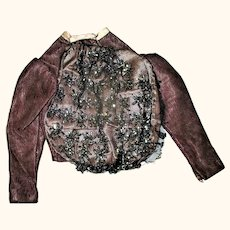Edwardian Beaded Amethyst Linen Blouse for Lady Doll