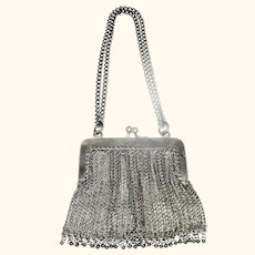 Silver Tone Chain Mesh Purse for Larger Doll Double Chain Handle Dangles