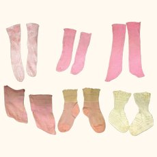 6 Pairs Old Pink & Champagne Doll Stockings & Socks