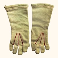 """Old 4"""" Champagne  Gloves Red Top Stitching for Bebe or Fashion Doll"""