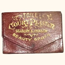 1870's Red Leather Box of Seabury & Johnson Toilet Court Plaster Beauty Spots
