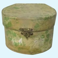 Labeled Bebe Jumeau Paper Covered Hinged Hat Box