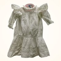 15 Inch Edwardian Drop Waist White Lawn Dress w  Bretelles Insertion Lace Tucks
