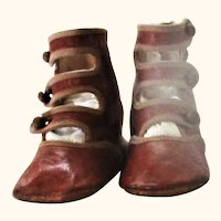 """4"""" Edwardian Saddle 3 Strap Flat Sole Shoes w Lining Binding"""
