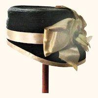 Black Straw Edwardian Doll Hat