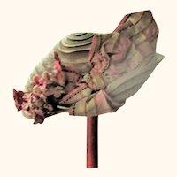 Fine Woven Straw Edwardian Doll Hat Ombre Dove Tones Mauve Ribbon Trim