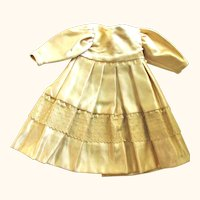 """Vintage 9"""" Lined Champagne Silk Dress for Small Doll"""