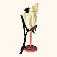 Antique Striped Cream Linen Pointy Crown Doll Bonnet