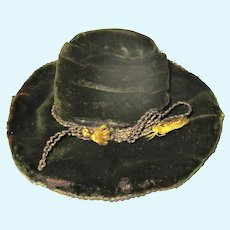 Fashionable Old Moss Green Velvet Tall Crown Hat Turned Up Brim