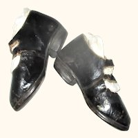 """19th Century 5"""" Black 2 Strap Cobbled Leather Shoes Early Cloth Papier-Mache Doll"""