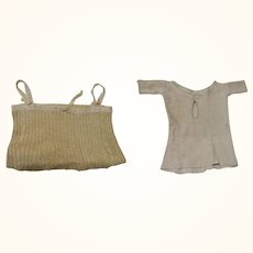 Champagne Ribbed Knit Camisole and Ivory Ribbed Knit Under Shirt for Lady Dolls