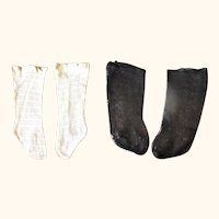 2 Pair Antique Open Weave Doll Stockings