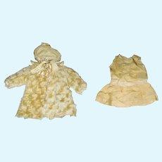 Antique Champagne Faux Fur Coat Hat  & Linen Dress for Bebe