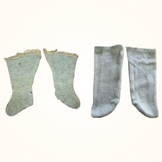 2 Pairs Old Blue Doll Stockings One Knitted