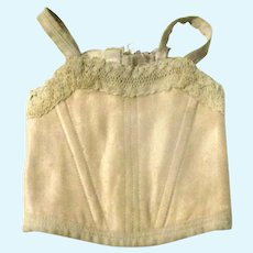 Lace Trimmed Nude/Champagne Sateen 6 Grommet Bebe Corset