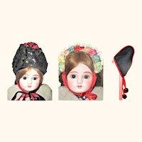 3 Antique Doll Regional Folkloric Head Pieces