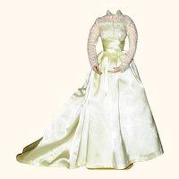 Ivory Satin & Lace Doll Wedding Gown Ensemble