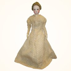 16 Inch 19th  Century Hand Stitched Ecru on Ivory Printed Linen Morning Dress with Train
