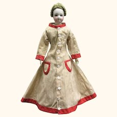 16 Inch 19th Century Roller Print Linen Morning Dress Red Band Trim for American Cloth or Papier-mache Lady Doll