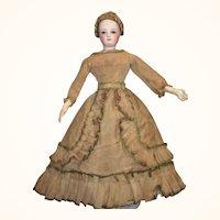 Fragile 14 Inch 19th Century  Ecru Linen Fashion Dress Pleated Hem Train