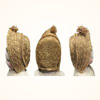 Fragile 19th Century Woven Straw Doll Bonnet for Early Wood Papier-mache Cloth or China Doll