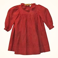 19th C White Dotted Turkey Red Resist Printed Linen Dress for Big Papier-mache China or Cloth Doll