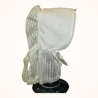 19th Century White Linen Quaker Doll Size Sun Bonnet