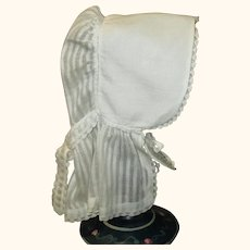 19th Century White Linen Quaker Doll Size Sun Bonnet