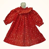 19th Century Resist Printed Turkey Red Smock Dress for Large Papier-mache or China Doll