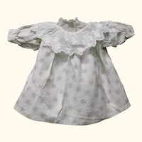 """12"""" Sepia on White Roller Printed Hand Stitched Old Smock Dress & Petticoat  for China or Cloth Doll"""