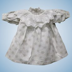 "12"" Sepia on White Roller Printed Hand Stitched Old Smock Dress & Petticoat  for China or Cloth Doll"