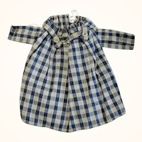 Old Hand Stitched Indigo Check Homespun Dress for Small Doll  or Bear