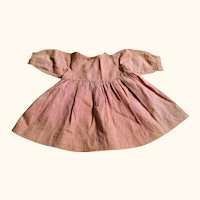 12.5 Inch Long Hand Stitched Pink and Ivory Gingham or Homespun Dress for Primitive Doll
