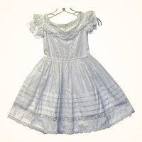 1860 White  Work Izannah Dress for Big China or Papier-mache