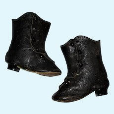 "Old 3.25"" Black Kid 5 Button Boots with French Heels"