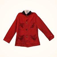 Old Scarlet Linen Military Jacket Gold Eagle Buttons Indigo Trim