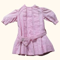12 Inch Edwardian Pink Cotton Hip Belted Dress for Toddler Character or Chase Doll