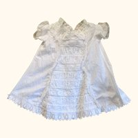Victorian 19 Inch White Linen Toddler Dress White Work Front Panel
