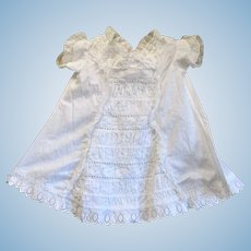Victorian 19 Inch White Linen Toddler Dress White Work Front Panel